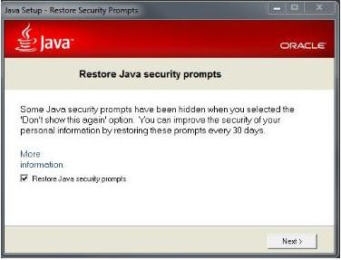 Restore Java Security Prompts image
